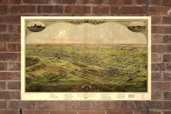 Vintage Lansing Print, Aerial Lansing Photo, Vintage Lansing MI Pic, Old Lansing Photo, Lansing Michigan Poster, 1866