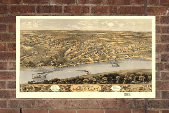 Vintage Lexington Print, Aerial Lexington Photo, Vintage Lexington MO Pic, Old Lexington Photo, Lexington Missouri Poster, 1869