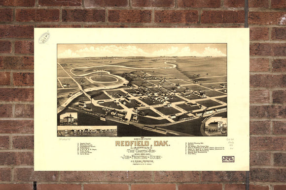 Vintage Redfield Print, Aerial Redfield Photo, Vintage Redfield SD Pic, Old Redfield Photo, Redfield South Dakota Poster, 1883