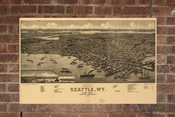 Vintage Seattle Print, Aerial Seattle Photo, Vintage Seattle WA Pic, Old Seattle Photo, Seattle Washington Poster, 1884