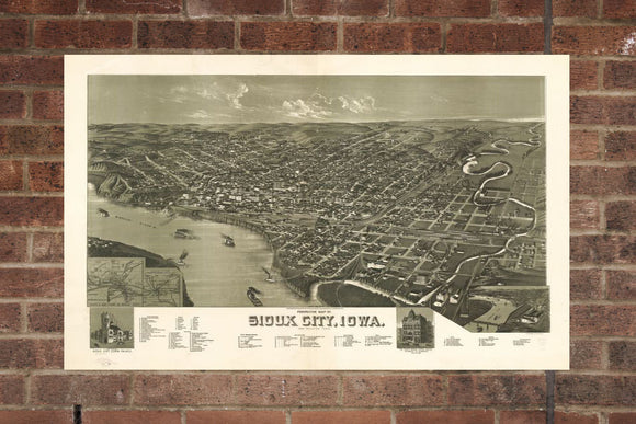 Vintage Sioux City Print, Aerial Sioux City Photo, Vintage Sioux City IA Pic, Old Sioux City Photo, Sioux City Iowa Poster, 1888