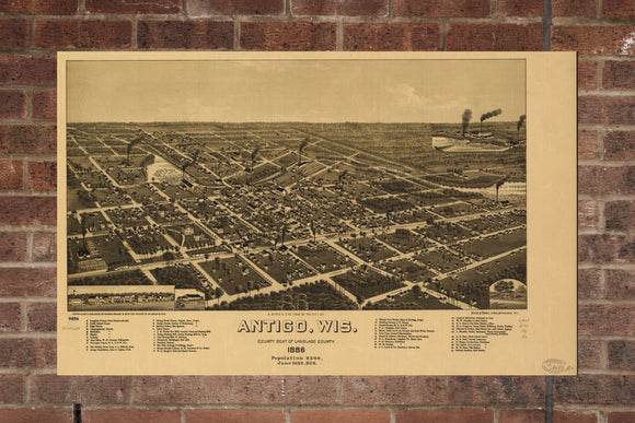 Vintage Antigo Print, Aerial Antigo Photo, Vintage Antigo WI Pic, Old Antigo Photo, Antigo Wisconsin Poster, 1886