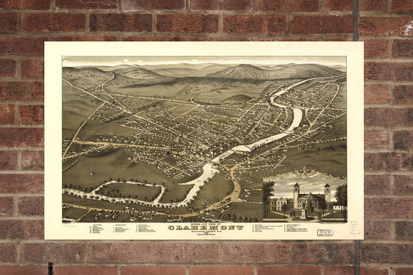 Vintage Claremont Print, Aerial Claremont Photo, Vintage Claremont NH Pic, Old Claremont Photo, Claremont New Hampshire Poster, 1877