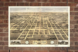 Vintage Clinton Print, Aerial Clinton Photo, Vintage Clinton IL Pic, Old Clinton Photo, Clinton Illinois Poster, 1869