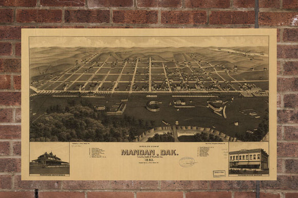 Vintage Mandan Print, Aerial Mandan Photo, Vintage Mandan ND Pic, Old Mandan Photo, Mandan North Dakota Poster, 1883