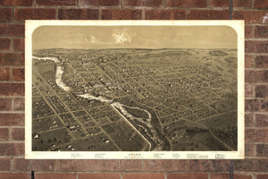 Vintage Niles Print, Aerial Niles Photo, Vintage Niles MI Pic, Old Niles Photo, Niles Michigan Poster, 1868