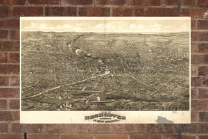 Vintage Rochester Print, Aerial Rochester Photo, Vintage Rochester NY Pic, Old Rochester Photo, Rochester New York Poster, 1880