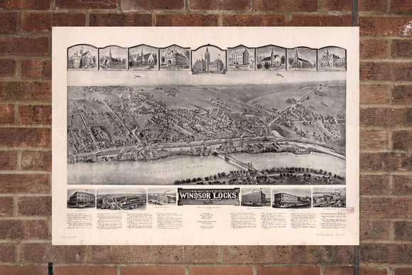 Vintage Windsor Locks Print, Aerial Windsor Locks Photo, Vintage Windsor Locks CT Pic, Old Windsor Locks, Windsor Locks Connecticut Poster