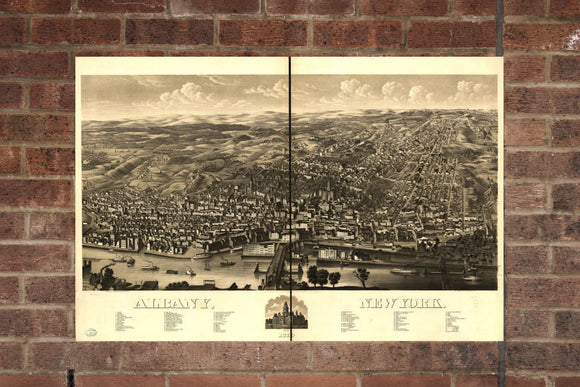 Vintage Albany Print, Aerial Albany Photo, Vintage Albany NY Pic, Old Albany Photo, Albany New York Poster, 1879