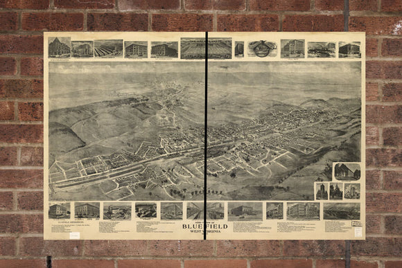 Vintage Bluefield Print, Aerial Bluefield Photo, Vintage Bluefield WV Pic, Old Bluefield Photo, Bluefield West Virginia Poster, 1911