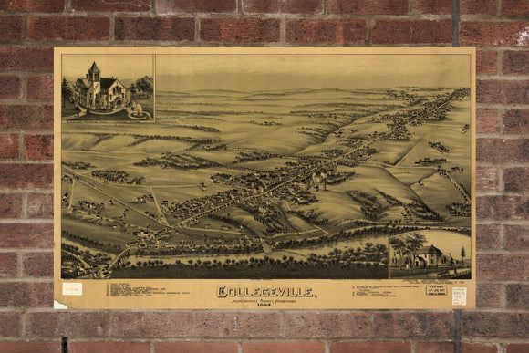 Vintage Collegeville Print, Aerial Collegeville Photo, Vintage Collegeville PA Pic, Old Collegeville Photo, Collegeville Pennsylvania Poster