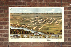 Vintage New Ulm Print, Aerial New Ulm Photo, Vintage New Ulm MN Pic, Old New Ulm Photo, New Ulm Minnesota Poster, 1870