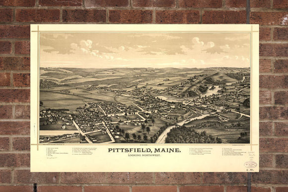 Vintage Pittsfield Print, Aerial Pittsfield Photo, Vintage Pittsfield ME Pic, Old Pittsfield Photo, Pittsfield Maine Poster, 1889