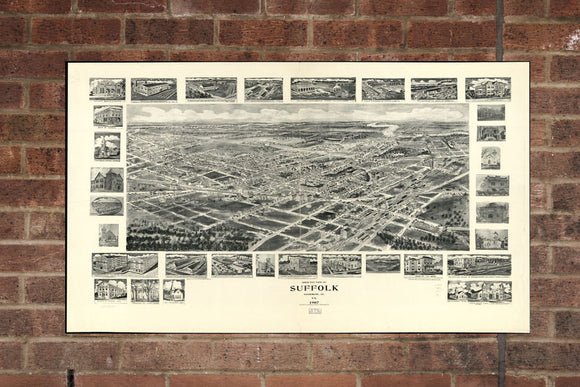 Vintage Suffolk Print, Aerial Suffolk Photo, Vintage Suffolk VA Pic, Old Suffolk Photo, Suffolk Virginia Poster, 1907