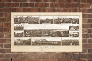 Vintage Milwaukee Print, Aerial Milwaukee Photo, Vintage Milwaukee WI Pic, Old Milwaukee Photo, Milwaukee Wisconsin Poster, 1882