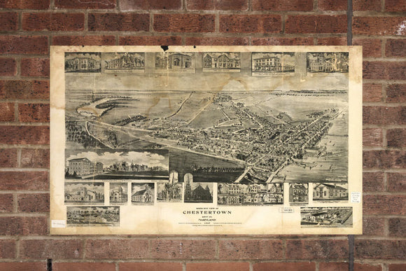 Vintage Chestertown Print, Aerial Chestertown Photo, Vintage Chestertown MD Pic, Old Chestertown Photo, Chestertown Maryland Poster, 1907