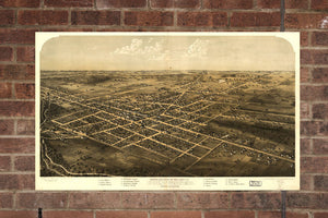 Vintage Coldwater Print, Aerial Coldwater Photo, Vintage Coldwater MI Pic, Old Coldwater Photo, Coldwater Michigan Poster, 1868