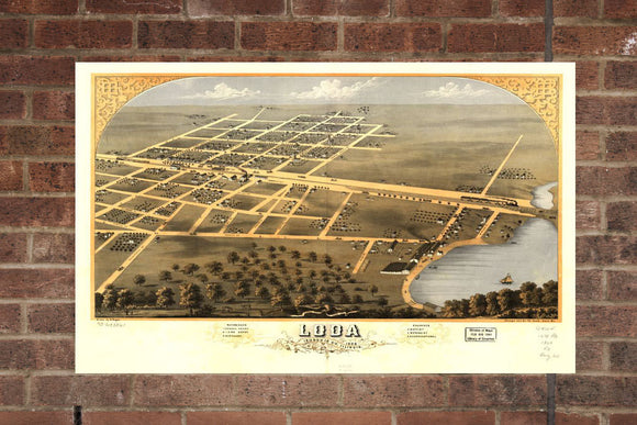 Vintage Loda Print, Aerial Loda Photo, Vintage Loda IL Pic, Old Loda Photo, Loda Illinois Poster, 1869