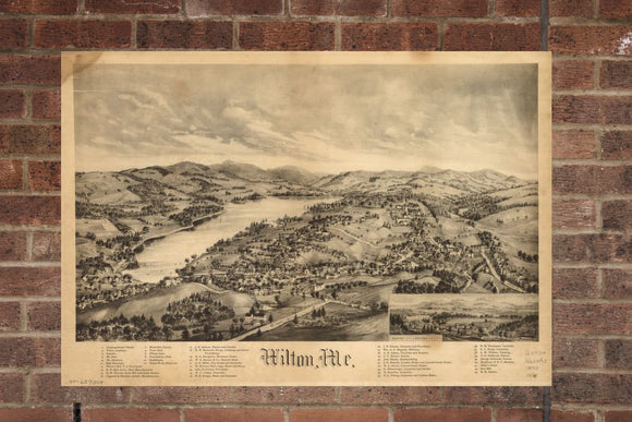 Vintage Wilton Print, Aerial Wilton Photo, Vintage Wilton ME Pic, Old Wilton Photo, Wilton Maine Poster, 1895