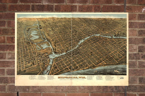 Vintage Milwaukee Print, Aerial Milwaukee Photo, Vintage Milwaukee WI Pic, Old Milwaukee Photo, Milwaukee Wisconsin Poster, 1872