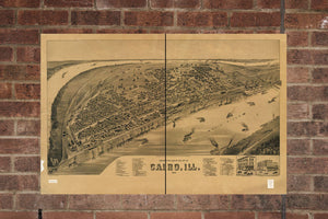Vintage Cairo Print, Aerial Cairo Photo, Vintage Cairo IL Pic, Old Cairo Photo, Cairo Illinois Poster, 1888