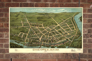 Vintage Chicopee Print, Aerial Chicopee Photo, Vintage Chicopee MA Pic, Old Chicopee Photo, Chicopee Massachusetts Poster, 1878