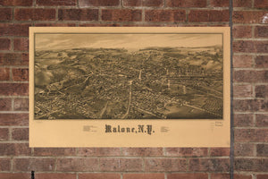 Vintage Malone Print, Aerial Malone Photo, Vintage Malone NY Pic, Old Malone Photo, Malone New York Poster, 1886