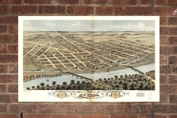 Vintage Attica Print, Aerial Attica Photo, Vintage Attica IN Pic, Old Attica Photo, Attica Indiana Poster, 1869