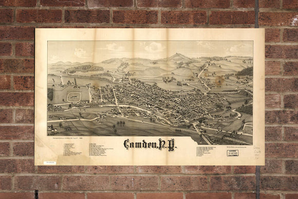 Vintage Camden Print, Aerial Camden Photo, Vintage Camden NY Pic, Old Camden Photo, Camden New York Poster, 1885