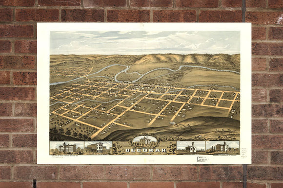 Vintage Decorah Print, Aerial Decorah Photo, Vintage Decorah IA Pic, Old Decorah Photo, Decorah Iowa Poster, 1870