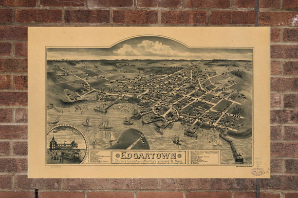 Vintage Edgartown Print, Aerial Edgartown Photo, Vintage Edgartown MA Pic, Old Edgartown Photo, Edgartown Massachusetts Poster, 1886