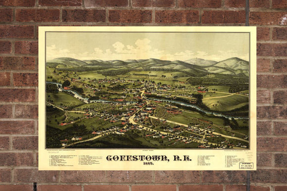Vintage Goffstown Print, Aerial Goffstown Photo, Vintage Goffstown NH Pic, Old Goffstown Photo, Goffstown New Hampshire Poster, 1887