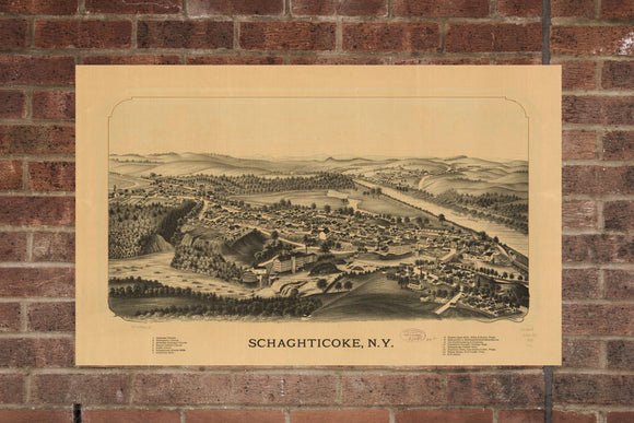 Vintage Schaghticoke Print, Aerial Schaghticoke Photo, Vintage Schaghticoke NY Pic, Old Schaghticoke Photo, Schaghticoke New York Poster