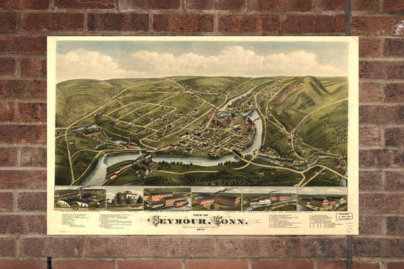 Vintage Seymour Print, Aerial Seymour Photo, Vintage Seymour CT Pic, Old Seymour Photo, Seymour Connecticut Poster, 1879