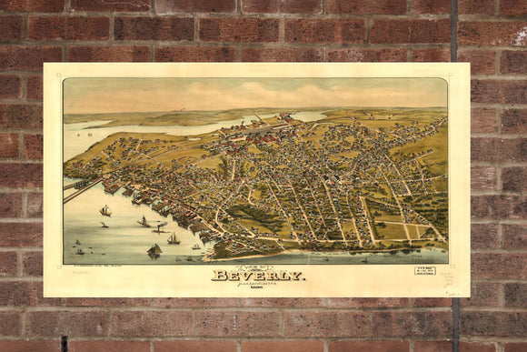 Vintage Beverly Print, Aerial Beverly Photo, Vintage Beverly MA Pic, Old Beverly Photo, Beverly Massachusetts Poster, 1886