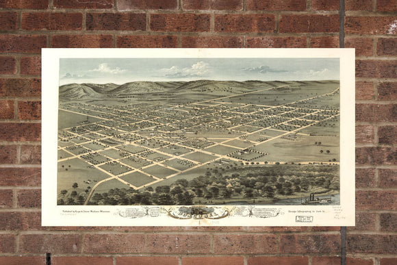 Vintage Boscobel Print, Aerial Boscobel Photo, Vintage Boscobel WI Pic, Old Boscobel Photo, Boscobel Wisconsin Poster, 1869