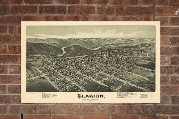 Vintage Clarion Print, Aerial Clarion Photo, Vintage Clarion PA Pic, Old Clarion Photo, Clarion Pennsylvania Poster, 1896