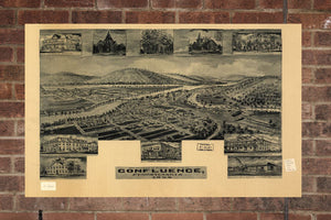 Vintage Confluence Print, Aerial Confluence Photo, Vintage Confluence PA Pic, Old Confluence Photo, Confluence Pennsylvania Poster, 1905