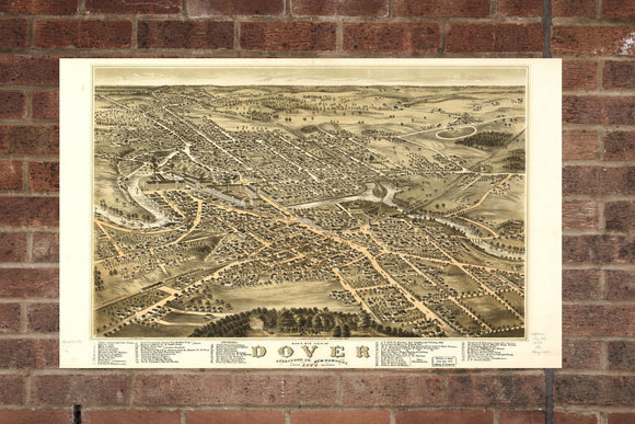 Vintage Dover Print, Aerial Dover Photo, Vintage Dover NH Pic, Old Dover Photo, Dover New Hampshire Poster, 1877