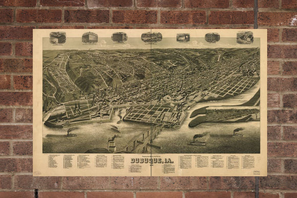 Vintage Dubuque Print, Aerial Dubuque Photo, Vintage Dubuque IA Pic, Old Dubuque Photo, Dubuque Iowa Poster, 1889