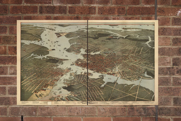 Vintage Norfolk Print, Aerial Norfolk Photo, Vintage Norfolk VA Pic, Old Norfolk Photo, Norfolk Virginia Poster, 1891