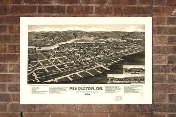 Vintage Pendleton Print, Aerial Pendleton Photo, Vintage Pendleton OR Pic, Old Pendleton Photo, Pendleton Oregon Poster, 1884