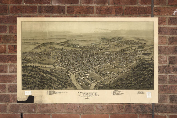 Vintage Tyrone Print, Aerial Tyrone Photo, Vintage Tyrone PA Pic, Old Tyrone Photo, Tyrone Pennsylvania Poster, 1895