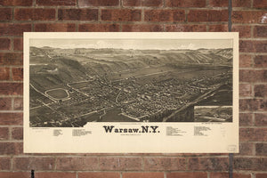 Vintage Warsaw Print, Aerial Warsaw Photo, Vintage Warsaw NY Pic, Old Warsaw Photo, Warsaw New York Poster, 1885