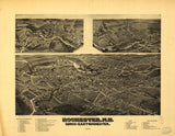 Vintage Rochester Print, Aerial Rochester Photo, Vintage Rochester NH Pic, Old Rochester Photo, Rochester New Hampshire Poster, 1884