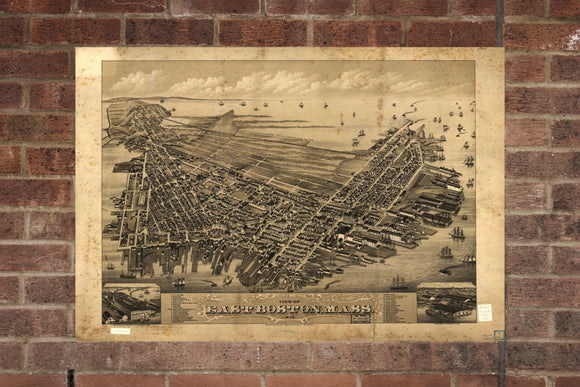 Vintage East Boston Print, Aerial East Boston Photo, Vintage East Boston MA Pic, Old East Boston Pic, East Boston Massachusetts Poster, 1879