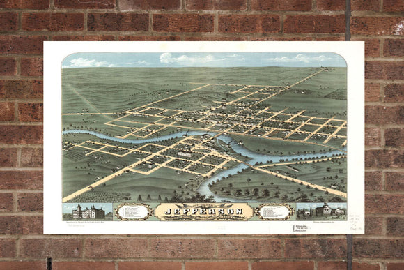 Vintage Jefferson Print, Aerial Jefferson Photo, Vintage Jefferson WI Pic, Old Jefferson Photo, Jefferson Wisconsin Poster, 1870