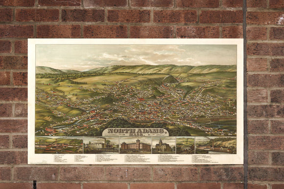 Vintage North Adams Print, Aerial North Adams Photo, Vintage North Adams MA Pic, Old North Adams Photo, North Adams Massachusetts Poster