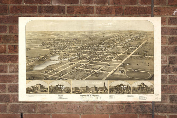 Vintage Ripon Print, Aerial Ripon Photo, Vintage Ripon WI Pic, Old Ripon Photo, Ripon Wisconsin Poster, 1867