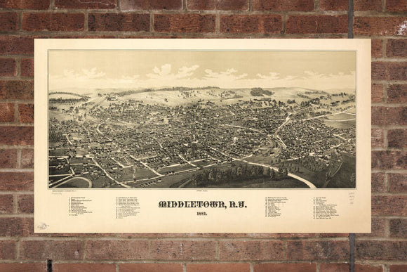 Vintage Middletown Print, Aerial Middletown Photo, Vintage Middletown NY Pic, Old Middletown Photo, Middletown New York Poster, 1887